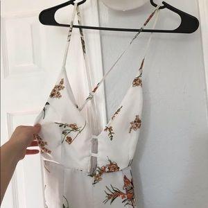 White floral pant suit